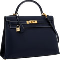 Luxury Accessories:Bags, Hermes Special Order 32cm Indigo & Blue Thalassa Veau Graine Lisse Leather Sellier Kelly Bag with Gold Hardware . Excellen...