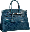 "Luxury Accessories:Bags, Hermes 35cm Shiny Blue Roi Porosus Crocodile Birkin Bag with Palladium Hardware . Very Good Condition . 14"" Width x 10..."