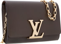 "Louis Vuitton Taupe Leather Chain Louise Clutch Bag with Gold Hardware Excellent Condition 9"" Wi"