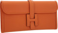 "Luxury Accessories:Bags, Hermes Orange H Swift Leather Jige Elan H Clutch Bag . PristineCondition . 11"" Width x 6"" Height x 1"" Depth . ..."