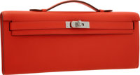 Hermes Capucine Swift Leather Kelly Cut Clutch Bag with Palladium Hardware Pristine Condition 1