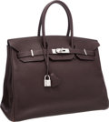 "Luxury Accessories:Bags, Hermes 35cm Chocolate Clemence Leather Birkin Bag with PalladiumHardware. Very Good Condition. 14"" Width x 10""Height..."