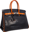 Luxury Accessories:Bags, Hermes Limited Edition 35cm Shiny Black & Orange H Porosus Crocodile Birkin Bag with Ruthenium Hardware. Good to Very Good...
