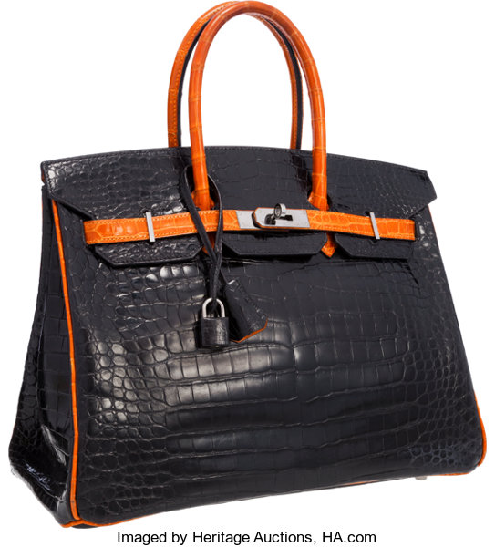 3308b974acb0 Hermes Limited Edition 35cm Shiny Black   Orange H