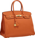 """Luxury Accessories:Bags, Hermes 35cm Orange H Togo Leather Birkin Bag with Gold Hardware.Excellent Condition . 14"""" Width x 10"""" Height x 7""""Dep..."""