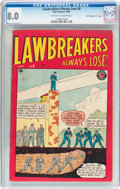 """Golden Age (1938-1955):Crime, Lawbreakers Always Lose! #8 Canadian Edition - Davis Crippen (""""D"""" Copy) Pedigree (Marvel, 1949) CGC VF 8.0 Off-white to white..."""