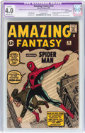Silver Age (1956-1969):Superhero, Amazing Fantasy #15 (Marvel, 1962) CGC Apparent VG 4.0 Moderate (A)Off-white pages....