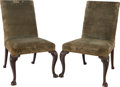 Furniture , A PAIR OF ENGLISH CHIPPENDALE-STYLE MAHOGANY AND FABRIC UPHOLSTERED SIDE CHAIRS, 19th century. 38 x 23 x 22 inches (96.5 x 5... (Total: 2 Items)
