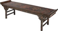 Asian:Chinese, AN EBONIZED WOOD CHINOISERIE BENCH, early 20th century. 21-1/4 x 78x 20-5/8 inches (54.0 x 198.1 x 52.4 cm). ...