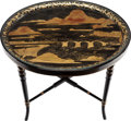 Furniture , A JAPANESQUE BLACK TOLE TRAY TABLE, 19th century. 23 x 27-1/2 x 20-1/2 inches (58.4 x 69.9 x 52.1 cm). PROPERTY FROM THE C...