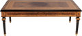 Furniture : Continental, AN ITALIAN COLOMBO MOBILI BURL WALNUT, MAPLE AND MARQUETRY COFFEETABLE, circa 1990. Marks: COLOMBO MOBILI. 18-1/2 x 50-...