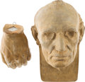 Political:3D & Other Display (pre-1896), Abraham Lincoln: Leonard Volk Life Mask and Hand. ... (Total: 2 Items)