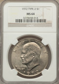 Eisenhower Dollars, 1972 $1 Type Two MS64 NGC. PCGS Population (511/66). Numismedia Wsl. Price for problem free NGC/PCGS coi...