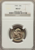 Washington Quarters: , 1963 25C MS67 NGC. NGC Census: (64/0). PCGS Population (12/0).Mintage: 74,300,000. Numismedia Wsl. Price for problem free ...