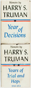 Books:Biography & Memoir, Harry S. Truman. INSCRIBED. Year of Decisions [and:]Years of Trial and Hope. New York: Doubleday, [1955]. B...(Total: 2 Items)