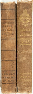 Books:Americana & American History, B. B. Thatcher. Indian Biography. New York: Harpers, 1837,1834. Volume one and two, mismatched. Original cloth bind...(Total: 2 Items)