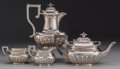 Silver Holloware, Continental:Holloware, AN ASSOCIATED FOUR PIECE SILVER TEA AND COFFEE SERVICE BY VARIOUSMAKERS, circa 1893-1923. Marks to coffee pot: (lion passan...(Total: 4 Items)