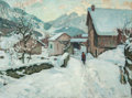 Fine Art - Painting, European:Modern  (1900 1949)  , ALFRED SWIEYKOWSKI (French, 1869-1953). Figure in the Snow.Oil on canvas. 39 x 52 inches (99.1 x 132.1 cm). Signed lowe...