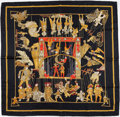 "Luxury Accessories:Accessories, Hermes 90cm Black, Red & Gold ""Le Temps des Marionnettes,"" byAnnie Faivre Silk Scarf. ..."