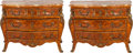Furniture : French, A PAIR OF LOUIS XV-STYLE MAHOGANY AND KINGWOOD PARQUETRY COMMODESWITH MARBLE TOPS AND GILT BRONZE MOUNTS, 20th century. 34 ...(Total: 2 Items)