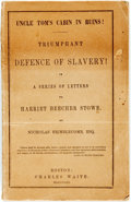 Books:Americana & American History, [Pro-Slavery]. [Harriet Beecher Stowe]. Nicholas Brimblecomb.Uncle Tom's Cabin in Ruins! Triumphant Defence ofSlavery!...