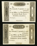 Obsoletes By State:Ohio, Worthington, OH - (Ezra Griswold) 25¢ 18__ Remainder and 50¢ 18__Remainder. ... (Total: 2 notes)