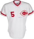 Baseball Collectibles:Uniforms, 1980 Johnny Bench Game Worn Cincinnati Reds Jersey, MEARS A7....