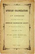 Books:Americana & American History, [African-Americana]. John Orcutt. African Colonization: anAddress Delivered Before the American Colonization Society,i...