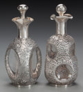 Asian:Chinese, TWO LEE YEEHING CHINESE EXPORT SILVER AND GLASS HAIG SCOTCHDECANTERS, Hong Kong, circa 1900. Marks: (four-character mark), ...(Total: 2 Items)