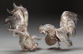 Silver Smalls:Other , A PAIR OF GERMAN SILVER ROOSTERS, circa 1950. Marks: 800(crescent-moon), (effaced mark). 7 inches high (17.8 cm). 38.45...(Total: 2 Items)