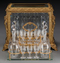 Decorative Arts, French:Other , A NINETEEN PIECE LOUIS XV-STYLE GILT BRONZE AND GLASS CAVE ALIQUEUR, early 20th century. 12 x 15-1/4 x 9-3/4 inches (30.5 x...(Total: 19 Items)