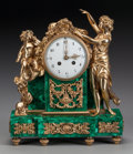 Decorative Arts, French:Other , A LOUIS XIV-STYLE MALACHITE AND GILT BRONZE MANTLE CLOCK, early20th century. 14 x 12-1/8 x 5 inches (35.6 x 30.8 x 12.7 cm)...