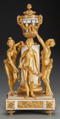 Decorative Arts, French:Other , A EUGENE BAZART FRENCH GILT BRONZE AND MARBLE PENDULE A CERCLESTOURNANT FIGURAL CLOCK, circa 1875. Marks: Eug. Bazart Par...(Total: 2 Items)