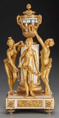 A EUGENE BAZART FRENCH GILT BRONZE AND MARBLE PENDULE A CERCLES TOURNANT FIGURAL CLOCK, circa 1875 Marks: Eug