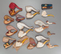 Decorative Arts, British:Other , SIXTEEN MEERSCHAUM FIGURAL PIPES, late 19th century. 6 inches long(15.2 cm) (bacchanal). From a Dallas Estate. ... (Total: 16 Items)