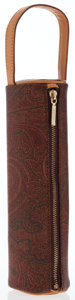 Luxury Accessories:Bags, Etro Burgundy Paisley Canvas Cylinder Pouch. ...