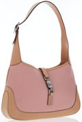 Luxury Accessories:Bags, Gucci Beige Leather & Pink Canvas Jackie Bag. ...