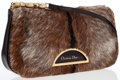 Luxury Accessories:Bags, Christian Dior Brown Mohair & Dark Brown Leather Shoulder Bag....