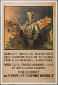 "Movie Posters:War, World War I Propaganda (Berger-Levraut, 1917). French Poster(30.75"" X 46.5""). ""Standing in the Trench."" War.. ..."