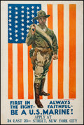 """Movie Posters:War, World War I Propaganda Poster (Ca. 1918). James Montgomery FlaggRecruitment Poster (28"""" X 42""""). """"First in the Fight."""" War...."""