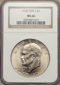 Eisenhower Dollars: , 1976 $1 Type Two MS66 NGC. NGC Census: (351/3). PCGS Population (448/9). Mintage: 113,318,000. Numismedia Wsl. Price for pr...