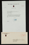 Autographs:Letters, 1952 Del Webb Signed Typed Letter to Charles Comiskey II....