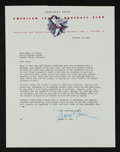 Autographs:Letters, 1949 Frank Lane Signed Typed Letter to Donna Curran & Charles Comiskey II re: Wedding....