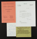 Baseball Collectibles:Others, 1958 Charles Comiskey II Personal Notes on the Congressional MLBAnti-Trust Legislation....
