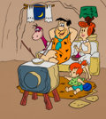 Animation Art:Presentation Cel, The Flintstones Fred, Wilma, Pebbles and Dino Publicity Cel Animation Art (Hanna-Barbera, 1972). ...