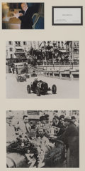 Automobilia, 1930 MONACO GRAND PRIX PRINT SIGNED BY RENE DREYFUS AND SUPPORTINGPICTURES. Artist Unknown, UNKNOWN. Framed Signed Print - ...(Total: 2 Items)
