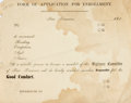 Books:Americana & American History, [San Francisco Committee of Vigilance] Form of Application forEnrollment in the San Francisco Committee of Vigilance. Not f...