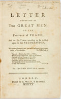 Books:World History, [French and Indian War] A Letter Addressed to Two Great Men, on the Prospect of Peace...London: A. Millar, 1760. Sec...