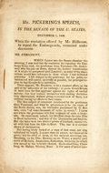 Books:Americana & American History, Pickering, Timothy: SPEECH IN THE SENATE OF THE U. STATES, DECEMBER1, 1808, WHEN THE RESOLUTION OFFERED BY MR. HILLHOUSE, ...