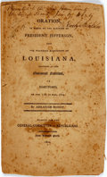 Books:Americana & American History, Bishop, Abraham: ORATION, IN HONOR OF THE ELECTION OF PRESIDENTJEFFERSON, AND THE PEACEABLE ACQUISITION OF LOUISIANA, DELIV...